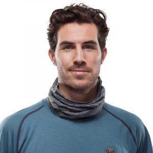 Khăn Buff Lightweight Merino Wool 3/4 - Stone Grey Multi Stripes Lifestyle