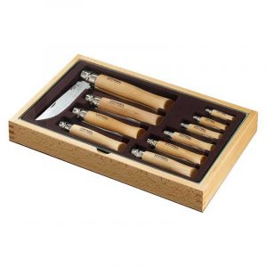 Bộ 10 dao xếp Opinel Stainless Steel Showcase -Hộp gỗ